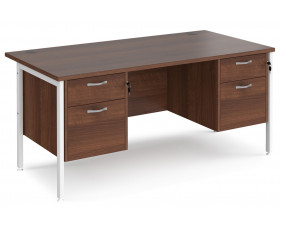 Value Line Deluxe H-Leg Rectangular Desk 2+2 Drawers (White Legs)