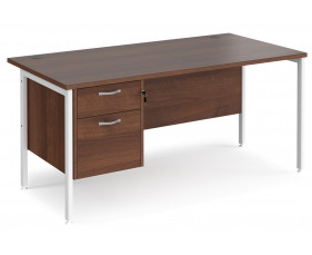 Value Line Deluxe H-Leg Rectangular Desk 2 Drawers (White Legs)