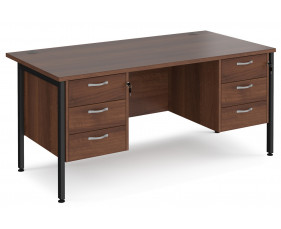 Value Line Deluxe H-Leg Rectangular Desk 3+3 Drawers (Black Legs)