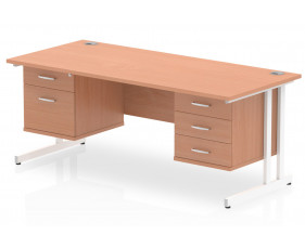 Vitali C-Leg Rectangular Desk 2+3 Drawers (White Legs)
