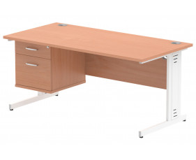 Vitali Deluxe Rectangular Desk 2 Drawers (White Legs)