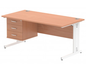 Vitali Deluxe Rectangular Desk 3 Drawers (White Legs)