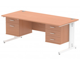 Vitali Deluxe Rectangular Desk 2+3 Drawers (White Legs)