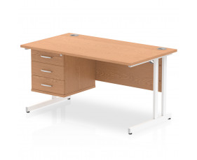Vitali C-Leg Rectangular Desk 3 Drawers (White Legs)