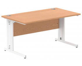 Vitali Deluxe Rectangular Desk (White Legs)