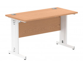 Vitali Deluxe Narrow Rectangular Desk (White Legs)