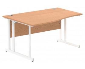 Vitali C-Leg Left Hand Wave Desk (White Legs)