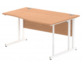 Vitali C-Leg Right Hand Wave Desk (White Legs)