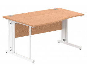 Vitali Deluxe Left Hand Wave Desk (White Legs)
