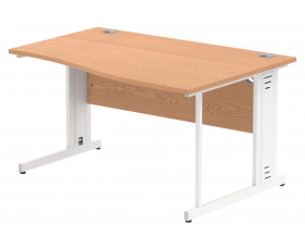 Vitali Deluxe Right Hand Wave Desk (White Legs)