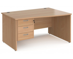 Value Line Deluxe Panel End Right Hand Wave Desk 3 Drawers
