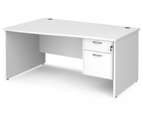 All White Premium Panel End Left Hand Wave Desk 2 Drawers