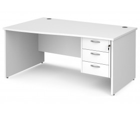 All White Premium Panel End Left Hand Wave Desk 3 Drawers