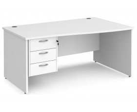 All White Premium Panel End Right Hand Wave Desk 3 Drawers