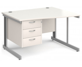 All White Deluxe Right Hand Wave Desk 3 Drawers