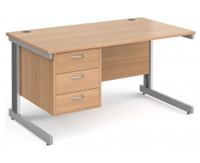 Next-Day Tully Deluxe Rectangular Desk 3 Drawers