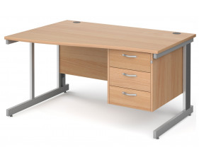 Next-Day Tully Deluxe Left Hand Wave Desk 3 Drawers