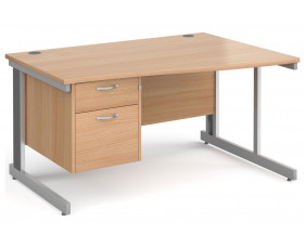 Next-Day Tully Deluxe Right Hand Wave Desk 2 Drawers