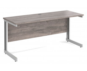 All Grey Oak Deluxe Narrow Rectangular Desk
