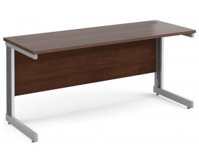 All Walnut Deluxe Narrow Rectangular Desk