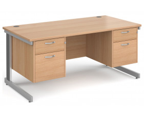 All Beech Deluxe Executive Desk 2+2 Drawers