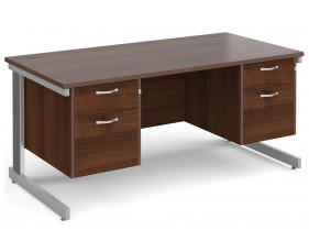 All Walnut Deluxe Executive Desk 2+2 Drawers
