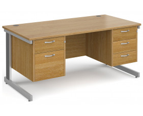 All Oak Deluxe Executive Desk 2+3 Drawers