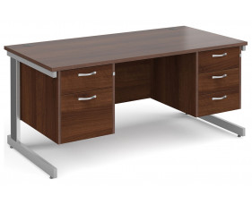 All Walnut Deluxe Executive Desk 2+3 Drawers