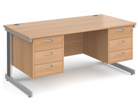 All Beech Deluxe Executive Desk 3+3 Drawers
