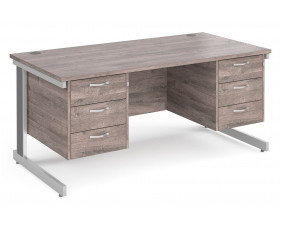 All Grey Oak Deluxe Executive Desk 3+3 Drawers