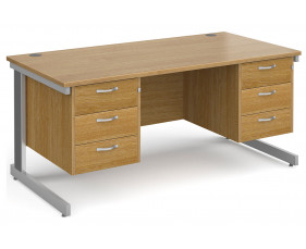 All Oak Deluxe Executive Desk 3+3 Drawers