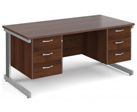 All Walnut Deluxe Executive Desk 3+3 Drawers