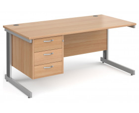 All Beech Deluxe Clerical Desk 3 Drawers