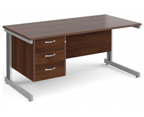 All Walnut Deluxe Clerical Desk 3 Drawers