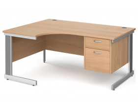 All Beech Deluxe Left Hand Ergo Desk 2 Drawers