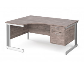 All Grey Oak Deluxe Left Hand Ergo Desk 2 Drawers