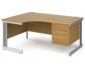 All Oak Deluxe Left Hand Ergo Desk 2 Drawers