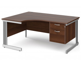 All Walnut Deluxe Left Hand Ergo Desk 2 Drawers