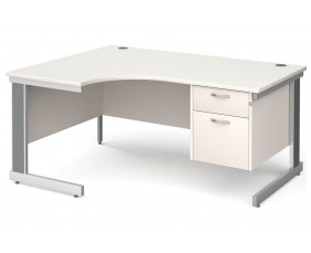 All White Deluxe Left Hand Ergo Desk 2 Drawers