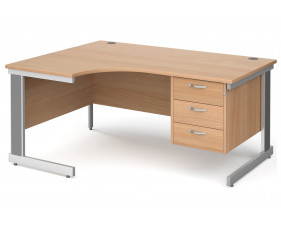 All Beech Deluxe Left Hand Ergo Desk 3 Drawers