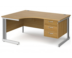 All Oak Deluxe Left Hand Ergo Desk 3 Drawers