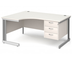 All White Deluxe Left Hand Ergo Desk 3 Drawers
