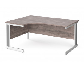 All Grey Oak Deluxe Left Hand Ergonomic Desk