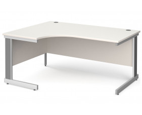 All White Deluxe Left Hand Ergonomic Desk