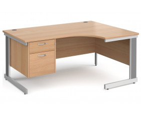 All Beech Deluxe Right Hand Ergo Desk 2 Drawers