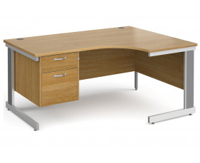 All Oak Deluxe Right Hand Ergo Desk 2 Drawers