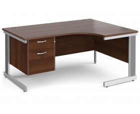 All Walnut Deluxe Right Hand Ergo Desk 2 Drawers