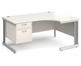 All White Deluxe Right Hand Ergo Desk 2 Drawers