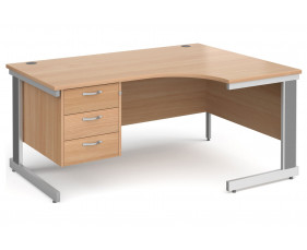 All Beech Deluxe Right Hand Ergo Desk 3 Drawers