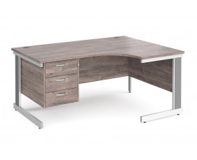 All Grey Oak Deluxe Right Hand Ergo Desk 3 Drawers